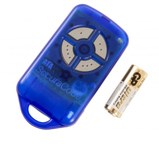 ATA PTX4 Blue Garage Door Remote SecuraCode Side