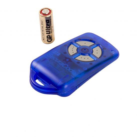 ATA PTX4 Blue Garage Door Remote SecuraCode Angle